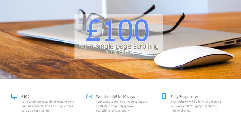 Single page scrolling website for £100