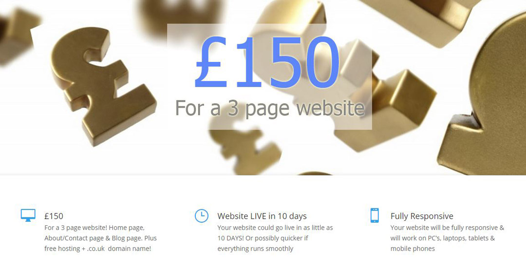 The 3 page website for £150 offer is back!
